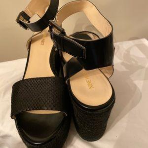 9WEST Ankle Strap Platform Sandal /mixed materials